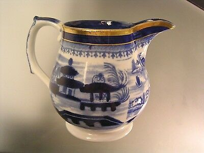 Antique Chinese Export Creamer Blue w/ Gold Embellishments