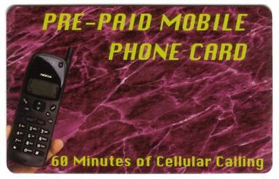 60m Pre-Paid Mobile Cellular Phone Card Picturing Nokia Phone USED Phone Card