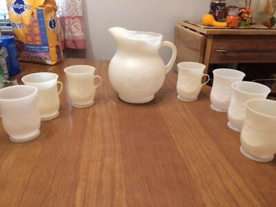 Vintage Kool Aid Pitcher & 7 Matching Cups