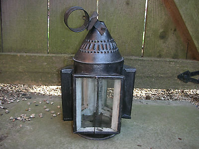 Antique Early 19th Century Tin Three Window Punch Candle Lantern
