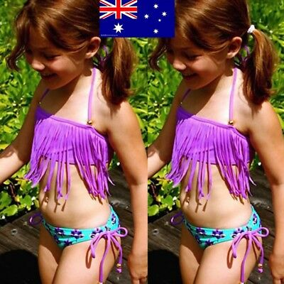 Fashion Children Kids Grirls Summer Swimwear Beach Pool Tassel Bikini AU Stock