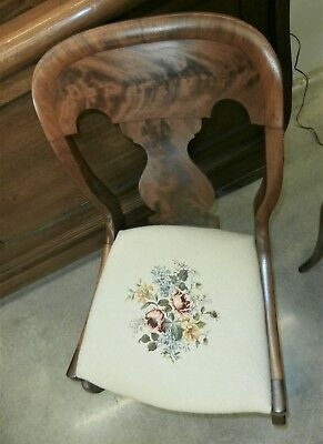Antique empire chair with needle point cushion