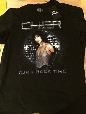 Cher Official Uk T-Shirt Uk New Size L Turn Back Time Dancing Queen Rare Retro