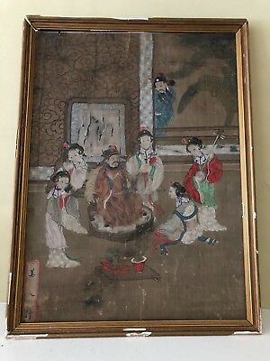 Antique Chinese Painting -- Watercolor on Silk, Affixed on Board