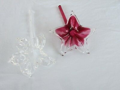 2 Vintage Hand Blown Art Glass Hollow Stem Flowers Plum and Clear