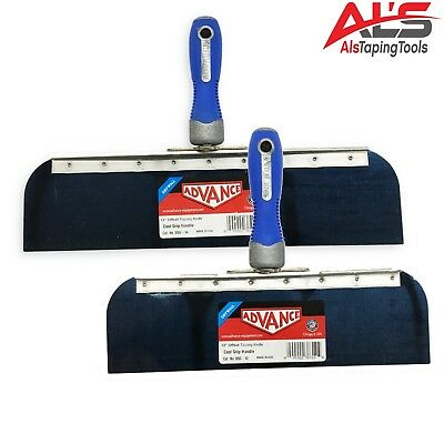 "Advance Drywall Offset Taping Knife 12"" & 14"" Blue Steel Finishing Knives Set"