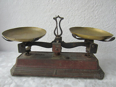 rare ✿ Antique French Original Force Balance Scale, cast Iron & brass, 11+""