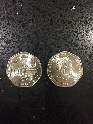 NEW 2018 ISLE OF MAN FIRST WORLD WAR REMEMBRANCE POPPY 50p COIN FREE P&P