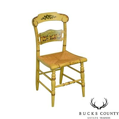 Hitchcock: Speeding on the Avenue Hand Painted & Stenciled Rush Seat Side Chair