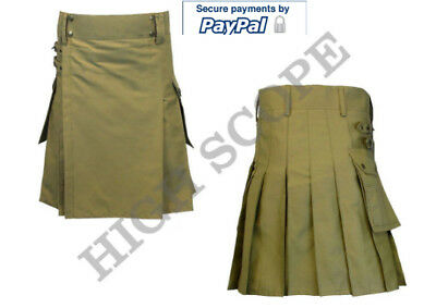 Men Khaki Utility Modern Work Kilt Made of Cotton Fastest delivery in 5 to 6