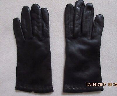 vintage ladies black leather gloves lined 8.5 inch size 6