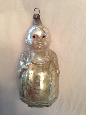 Antique Glass Christmas Ornament Figural Baby with Bottle Very Rare