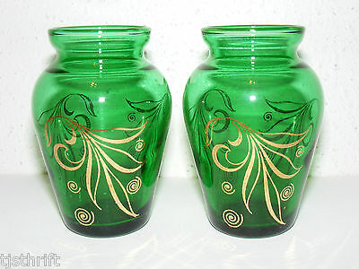 "Vintage 2Pc Emerald Green Glass Gold Gild Miniature Small 3.75"" Flower Vases ~J"