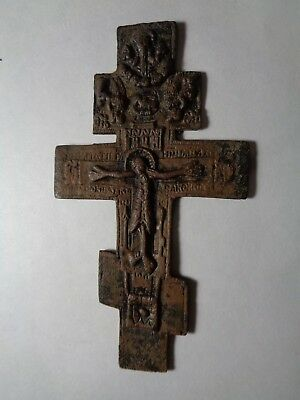 Russian Empire ancient orthodox bronze icon cross 1800s original 52