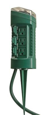 Woods 13547WD Outdoor Yard Stake with Photocell and Built-In Timer, 6 Grounded O