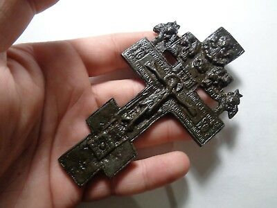 Russian Empire ancient orthodox bronze icon cross 1800s original 54
