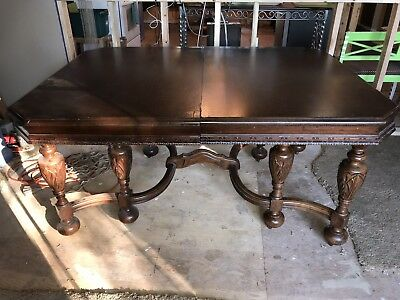 Antique Vintage Dining Table and 4 Side Chairs Ornate Extended Table with Leaves