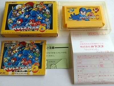 ROCKMAN 6 (MEGAMAN) Nintendo FAMICOM(NES)/ Cartridge,manual,Boxed set/tested-A-