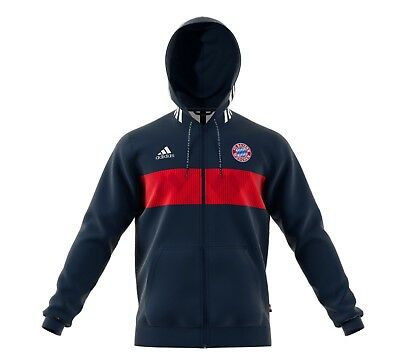 adidas Men s Soccer FC Bayern Munich 3s Full Zip Hoodie Blue Red Medium NWT 32c38a4c8