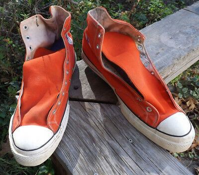 60s/70s vtg Converse All Star Chuck Taylor orange high-top athletic shoes, SZ 17