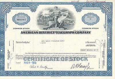 American District Telegraph Company 1972 - ADT - 50 Shares