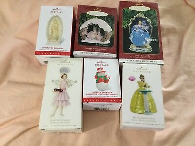 LOT 6 ASSORTED HALLMARK KEEPSAKE CHRISTMAS ORNAMENTS cinderella, beauty beast