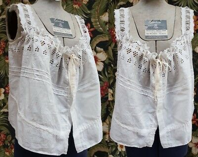 Vintage Victorian Edwardian Corset Cover Embroidered Crop Top L VTG