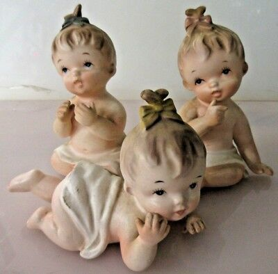 Lot of 3 Vintage Napco Japan Art Pottery Bisque Porcelain Baby Figurines