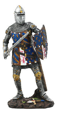 Standing French Knight In Battle Statue With Shield Figurine 7.5 Inch Height