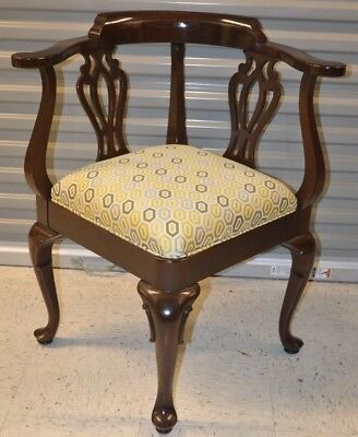 Ethan Allen Georgian Court Corner Chair Upholstered Cherry #11-9235 #225