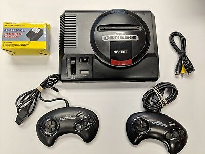 Original Sega Genesis Model 1 Console System Cleaned Tested Two Controllers VG