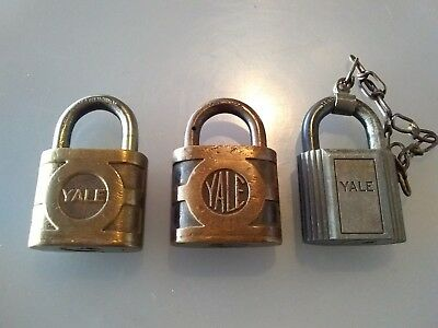 Vintage Yale Brass Padlock Locks Good Condition Lot Sale Of 3 As Is