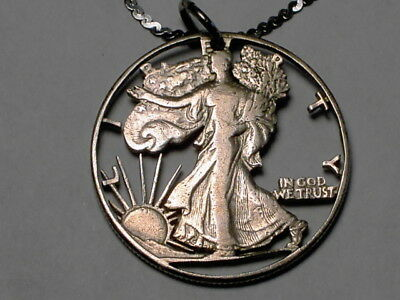 Walking Liberty Half Dollar  Pendant cut out with Sterling Silver Chain