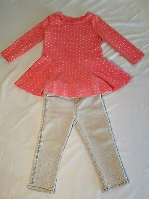 Girl's 12-18 Month Baby Gap Pink Polka Dot Shirt, Grey & White Cherokee Jeggings