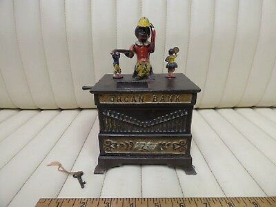 "Cast Iron ""Organ Bank"" Boy and Girl Mechanical Bank Toy by Kyser & Rex c. 1882"