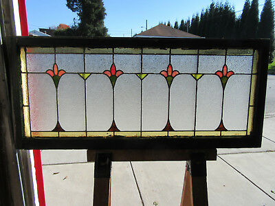 ~ ANTIQUE AMERICAN STAINED GLASS TRANSOM WINDOW ~ 56 x 25  ARCHITECTURAL SALVAGE
