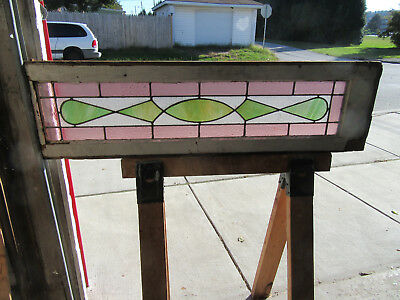 ~ Antique American Stained Glass Transom Window ~ 45 X 12  Architectural Salvage
