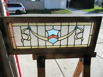 ~ Antique American Stained Glass Transom Window ~ 39 X 16  Architectural Salvage