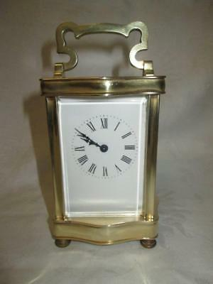 Antique French/English Serpentine Cased Brass Carriage Clock + Key (Working)