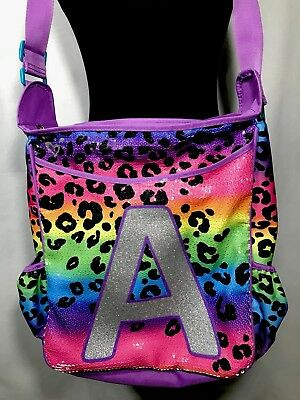 f5e06ed29c Justice Girls Rainbow Cheetah Initial A Backpack Shoulder Bag Pink Purple  School
