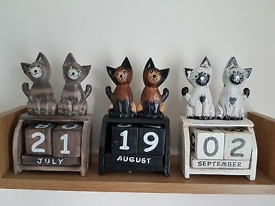 Cats wooden calender, hand made and painted 15 x 8 cmm