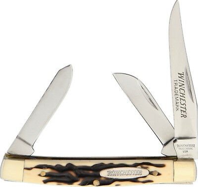 """Winchester Stockman Pocket Knife Buckstag Handle 3 1/4"""" Closed W40-14082 New"""