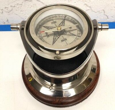 Nautical Desk Compass Stainless Steel w/ Wood Base Maritime Decor Paper Weight