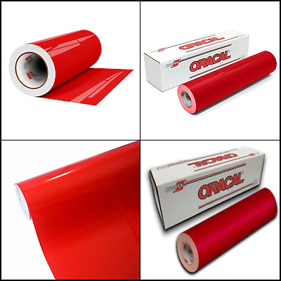 Oracal 651 Glossy Permanent Vinyl 12In x 6Ft, Red Adhesive Back 2.5 Mils Thick