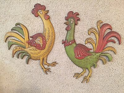 Home & Garden Vintage Antique Wall Hanging Green And Yellow Metal Roosters