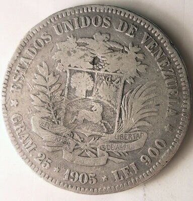 1905 VENEZUELA 5 BOLIVARES - VERY Rare Early Date Silver Crown Coin - Lot #N7