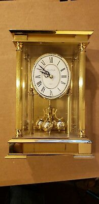 Vintage Bulova Solid Brass Mantel Clock Quartz Germany