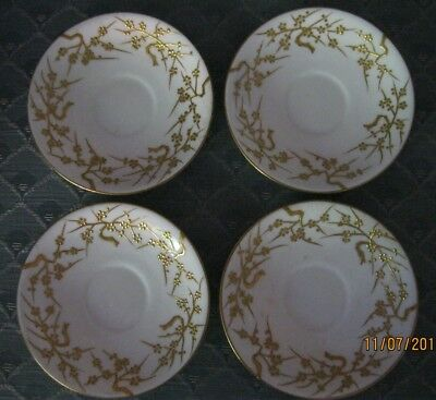 """Four Vintage Mintons Davis Collamore 4 1/4"""" Saucers White w/ Gold Scroll"""