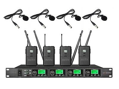4-Channel Professional UHF Lapel/Lavalier Tie Clip on Wireless Microphone System