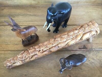 Vintage Hand Carved African Animal Themed Figure Accessory Lot